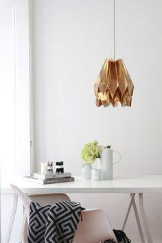 Paper Lamp, Origami Lampshade, Ceiling Lamp, Orikomi - Orikomi Plain Warm Gold