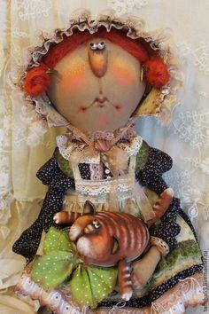 Купить Миссис Котиссис и рыжий Кот - разноцветный, примитив, примитивная кукла, примитивы, текстильная кукла