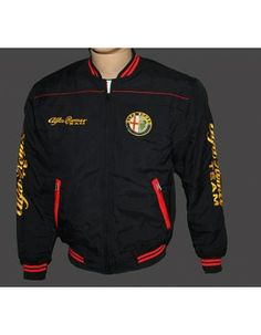 Alfa Romeo Black Jacket 2 with embroider logos from http://autofanstore.com