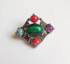 Broche ancienne style celtique signée MIRACLE - Métal couleur argent et perles verre : Autres accessoires bijoux par trois-petits-tours