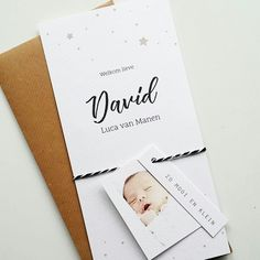 Geboortekaartje met los fotolabel en tekstlabeltje. Maak zelf via onze website! Www.fientje-en-co.nl