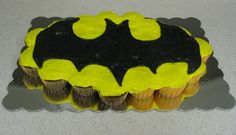 Batman cupcake cake. Vanilla and chocolate cupakes, with buttercream frosting.