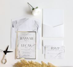 Marble Wedding Invitation Black and white by MemoryLanePaperie