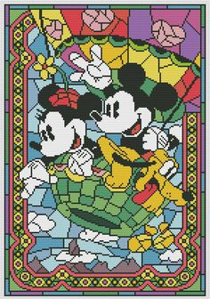 Disney cross stitch pattern Mickey and Minnie Mouse. Stained glass collection. Cross stitch pattern in PDF. NOT A PHYSICAL PRODUCT! __________________________________________________________________________________ BUY 2 PATTERNS AND GET 1 FREE! How: Buy 2 patterns and send me link of 3