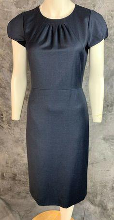 dd48d3da3a J Crew Blue 100% Wool Short Sleeve Pleated Kick Vent Sheath Dress sz 0  (8585)