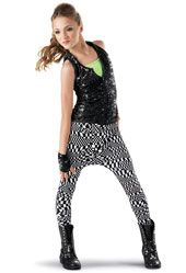 "Mad Hatter ""Blurred Lines"" Item 7377 Sequin Vest Print Harem Pants -Weissman Costumes"