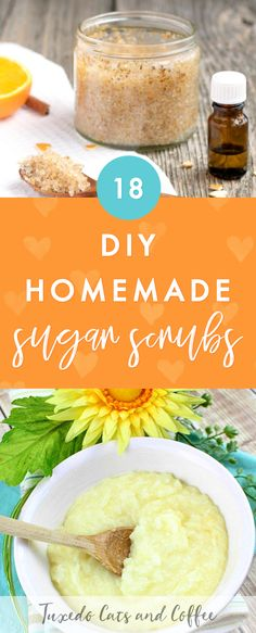 Want to make a quick and fun natural body product for you or a loved one? Try one of these 18 homemade DIY sugar scrubs that smell amazing! They're homemade and natural so you know what's going into your beauty products. There are body scrubs, lip scrubs, face scrubs, and more. #sugarscrub #diyscrub #homemadescrub #bodyscrub #lipscrub #beauty