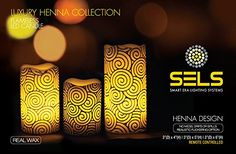 SELS LED Candles real wax Henna Design luxury collection flameless candles, battery operated, color changing with remote control and timer, 3 candle set, pillar candle, great for gifts, wedding decor, centerpieces, christmas gifts, valentine gifts. SELS Smart Era Lighting Systems http://www.amazon.com/dp/B00SXHROFQ/ref=cm_sw_r_pi_dp_CltVvb10TPEMK