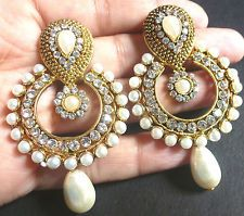 Vintage Antique Gold Plated Pearl Round Drop Indian Jhumka Earrings Bridal Set .