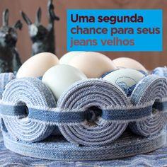 Cesto de ovos de brim reaproveitado