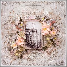Anne-Marie ~ Soft and feminine mixed media heritage page. *Click on photo for mini tutorial and list of products used.