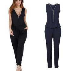 68a37862c6a Sexy Sleeveless jumpsuit women long romper summer women lady zipper playsuit  trousers beach jumpsuit coveralls female frock new. peiren16824099 ·  Jumpsuits
