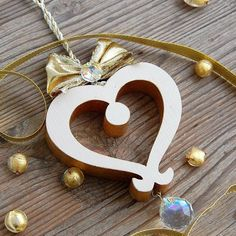 Tyrolean Wooden Heart with Crystal - Choralis - Wood Art Golden Heart, Heart Of Gold, Wooden Gifts, Handmade Wooden, Heart Wall, Luxury Gifts, Clear Crystal, Wood Art, Ribbons