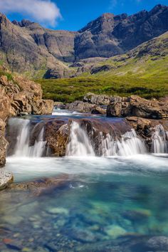 Fairy Pools in Isle of Skye, Scotland. Stroll to the rushing waters of Scotland's famous fairy pools.