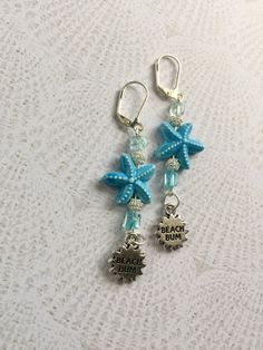 Turquoise Blue Starfish Earrings with Silver Wire, Blue Glass Chips, Beach Bum Charm, Ceramic Teal Blue Beachy Jewelry ~ Birthday present