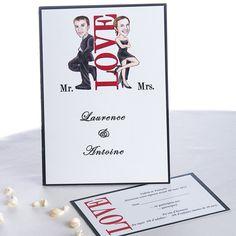faire part de mariage - http://www.joyeuxmariage.fr/boutique Faire Part Mariage Moderne Amour Tenues De Soiree Noires JM208