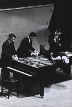 David Tudor, John Cage, Yoko Ono, and Toshiro Mayuzumi performing in Japan (1962).