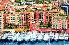 Luxury yachts in harbour of Monaco, Cote d'Azur.