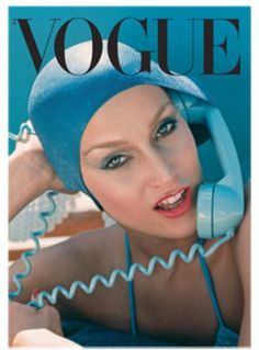 Just love that turquoise phone, swim cap, swimsuit from the 70's..  Jerry Hall - Vogue May 1975  via::mylusciouslife.com