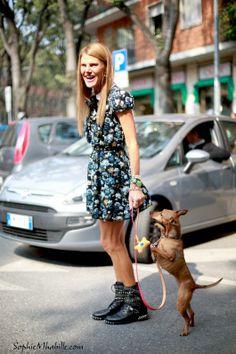 #annadellorusso #dress #robe #flowers #fashion #dog #pet #flowery #print #women #chic #style #look #outfit #streetchic #streetfashion #streetstyle #street #glasses #women #mode #milan #moda by #sophiemhabille