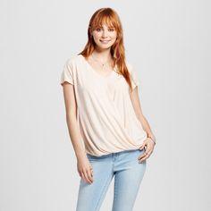Women's Drapefront Short Sleeve Top Blush Xxl - Mossimo