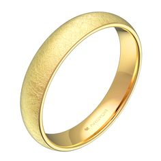 Alianza de boda de la Colección Argyor 1954. Forma media caña. Anchura 4,0mm y espesor fino. Fabricada en oro amarillo de 18k con acabado hielo. Para mayor confort el interior está ligeramente bombeado. Modelo A0140H00AF