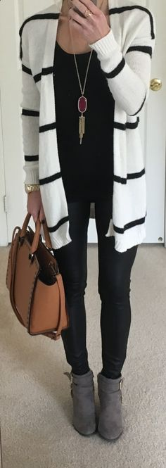 famedguide.com Striped Cardigan Scuba Leggings Sweater: LOFT ( Similar ) | Faux Leather Leggings: Express | Tank: Target (Maternity for length) | N...