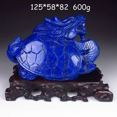 Chinese carved Lapis Lazuli. Ao Dragon Turtle.. $198.75, via Etsy.