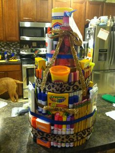 School supplies cake, back to school supplies, teacher supply cake, School Supplies Cake, School Supplies For Teachers, School Supplies Highschool, School Supplies Organization, Teacher Supplies, Back To School Supplies, Diy Videos, Teacher Supply Cake, Cake Tower