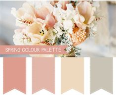 Spring Wedding Colour Palettes - almost monotone, but not quite... Hints of peachy-pink, some green, may be some copper/brown/grey...