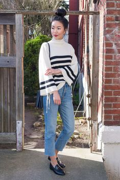 Transitional Outfit: Joie Knit & Gucci Brixton Loafers - Gucci Brixton Loafer - Ideas of Gucci Brixton Loafer - Transitional Outfit: Joie Knit & Gucci Brixton Loafers Hey Pretty Thing Gucci Loafers Women, Gucci Brixton Loafer, Gucci Jordaan Loafer, Fashion Sites, Matches Fashion, Weekend Outfit, Work Casual, Casual Outfits, Normcore