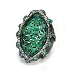 Wendy Yue Carved Jade and Ebony Ring