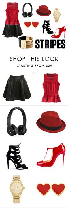"""""""Music Love"""" by marthabr on Polyvore featuring Pilot, WithChic, Beats by Dr. Dre, Stetson, Christian Louboutin and Michael Kors"""
