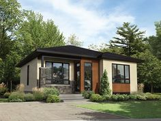 This lovely bungalow stands out with its front porch, its many large windows and lateral entrance door. The house is 34 feet wide by 34 feet deep and features square feet of living space. Ceilings in the open living area are 9 feet 2 inches high Contemporary House Plans, Modern House Design, Home Design, Midcentury Modern House Plans, Japanese Modern House, Small Modern Home, Living Room Modern, Bedroom Modern, Living Rooms