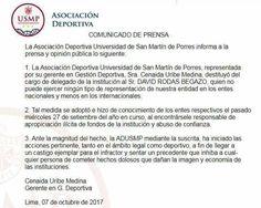 COMUNICADO DE LA ASOCIACIÓN DEPORTIVA USMP SOBRE DESTITUCIÓN DE SU DELEGADO DAVID RODAS