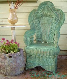 Vintage Wicker Rattan Sage Green Wicker Heart Shaped Back Chair with Curly Q Tendril Designs by liked by wickerparadise, visit our wicker furniture selection. Wicker Chairs, Wicker Furniture, Painted Furniture, Adirondack Furniture, Bedroom Furniture, Yard Furniture, Wicker Man, Wicker Trunk, Wicker Mirror