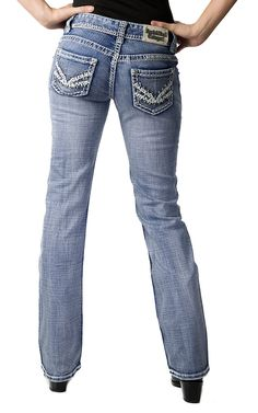 Rock & Roll Cowgirl Women's Light Stonewash with Thick Stitching and Silver Studs Boot Cut Jeans