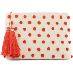 Shiraleah Ava Pom Pom Pouchette ($25) ❤ liked on Polyvore featuring bags, handbags, clutches, orange, orange handbags, pink handbags, pink clutches, orange purse and shiraleah