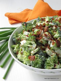 Easy, Low Carb Bacon Broccoli Salad is a popular crunchy side perfect for lunch, brunch and a dinner side. | low carb, gluten-free, dairy-free, Paleo, Keto | momcanihavethat.com