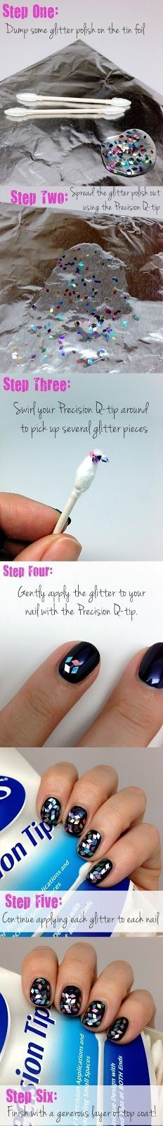 Get the perfect glitter placement for your next DIY manicure with this easy how-to from using Q-tips Precision Tips. Love Nails, Fun Nails, Pretty Nails, Nail Care Tips, Nail Tips, Nails Decoradas, Diy Nail Designs, Types Of Nails, Beautiful Nail Designs