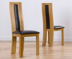 Girona Oak Dining Chair with Brown Black or Cream Leather Seat