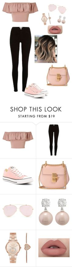 """Sans titre #599"" by kathouxo ❤ liked on Polyvore featuring Miss Selfridge, River Island, Converse, Chloé, Jankuo and Michael Kors"