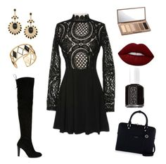 """""""outfit goth glam"""" by alexia7528 on Polyvore featuring Stuart Weitzman, Henri Bendel, Rebecca Minkoff, Lime Crime, Essie and Urban Decay"""