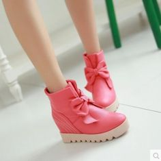 Womens Sweety Shoes Ankle Boots Bow-Knot Girls Round Toe Hidden Heel Casual C272