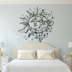 Sun And Moon Wall Decal- Sun Moon And Stars Wall Decals Ethnic Decor- Bedroom Dorm Wall Decal Sticker Bohemian Boho Wall Art Home Decor C108 FabWallDecals http://www.amazon.com/dp/B015OS6E5C/ref=cm_sw_r_pi_dp_IhXQwb0PJPEZ7