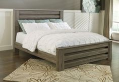 Zelen King Poster Bed in Warm Gray
