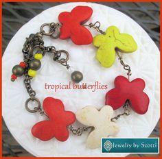 Multi Color Stone Butterfly Charm Bracelet, Unique Bracelet, Spring Bracelet, Red Orange Yellow White, Butterfly Statement Bracelet