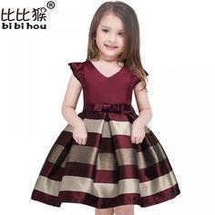 Baby Girls Princess Striped Dress Girls Party Dresses Princess Kids Christmas Wedding Suits F.