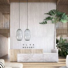 Olea Resort & Spa – reworked design - clear branding and more texture, proportions adjusted with different lighting fixtures. Shadow gap at reception desk adds to a more lightweight appearance of reception Spa Hotel, Hotel Lounge, Bar Lounge, Dubai Hotel, Hotel Decor, Hotel Soap, Hotel Party, Reception Desk Design, Lobby Reception