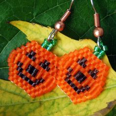 Jack o' Lantern beaded earrings by DragonshadowStudios on Etsy, $10.00